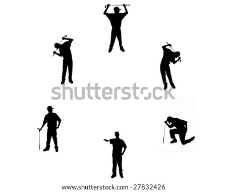 Silhouettes of golfer in different poses. - stock photo