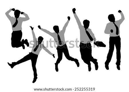 Silhouettes of happy jump and running Businessmen with white background - stock photo