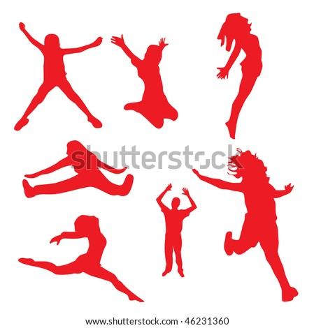 silhouettes of Happy jumping peoples Vector illustration - stock photo