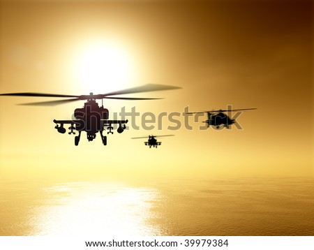 Silhouettes of helicopter over sunset - stock photo