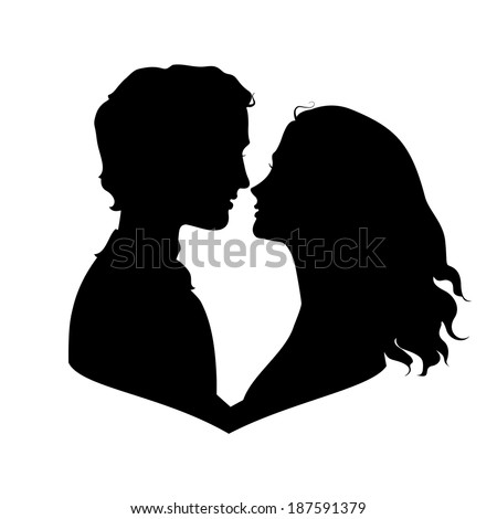 Silhouettes of loving couple - stock photo