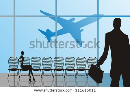 Silhouettes of man and woman in Airport