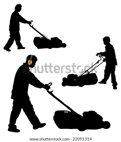 commercial lawn mower silhouette. silhouettes of man mowing lawn commercial mower silhouette