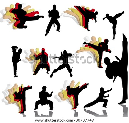 Silhouettes of men which own ancient kinds of struggle. Version 1. - stock photo