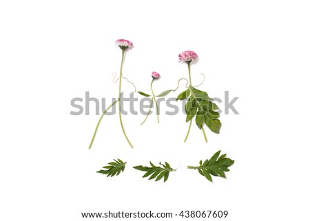 Silhouettes of men, women and children from field bright pink flowers on an isolated background. Flower family holding hands. Summer natural pattern on a white surface. View from above - stock photo