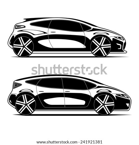 Silhouettes of modern cars isolated on white background
