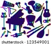 Silhouettes of musical instruments. On a white background - stock vector