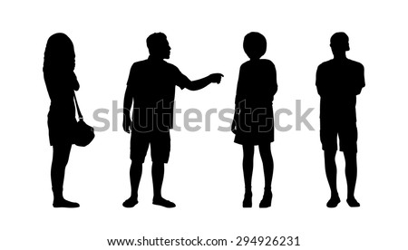 silhouettes of ordinary adult men and women standing outdoor in different postures looking around, summertime, front, back and profile views - stock photo
