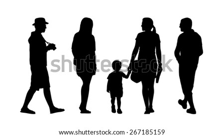 silhouettes of ordinary men and women walking outdoor, back and profile views - stock photo