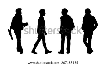 silhouettes of ordinary men of different age walking outdoor, front, back and profile views - stock photo