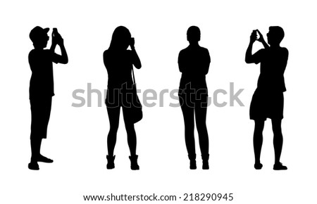 silhouettes of ordinary teen girls and boys standing outdoor in different postures, front and back views - stock photo