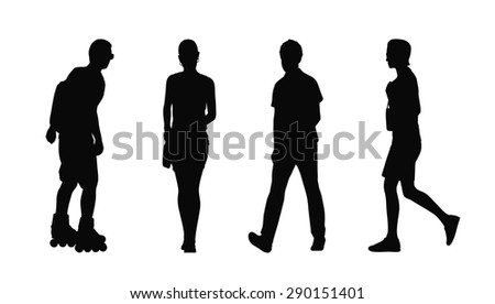 silhouettes of ordinary young adult men and women walking outdoor, summertime; front, back and profile views - stock photo