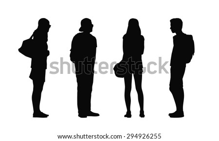 silhouettes of ordinary young adults standing outdoor in different postures looking around, summertime, front, back and profile views - stock photo