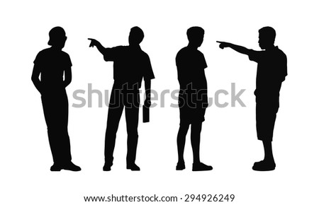 silhouettes of ordinary young men standing outdoor in different postures looking around, summertime, front, back and profile views - stock photo