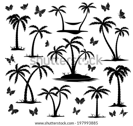 silhouettes of palm trees and butterflies on white background - stock photo