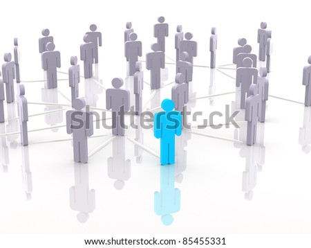 Silhouettes of people. 3d - stock photo