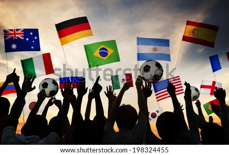 Silhouettes of People Gathered for 2014 FIFA World Cup - stock photo