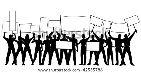 Silhouettes of people holding placards or signs with all people and signs as separate objects