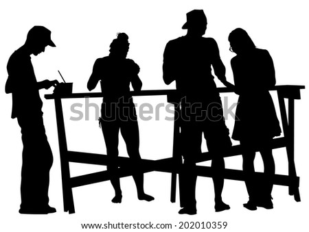 Silhouettes of people in a cafe on a white background