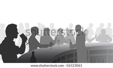 Silhouettes of people in a wine bar - stock photo