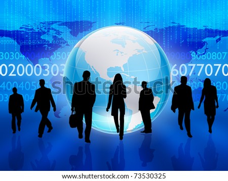 Silhouettes of people in the abstract business background. - stock photo