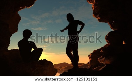 Silhouettes of people in the cave. - stock photo