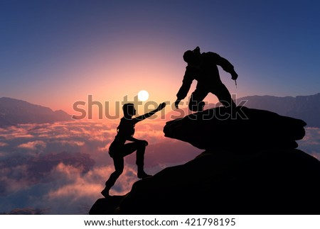 Silhouettes of people in the mountains..3d render - stock photo