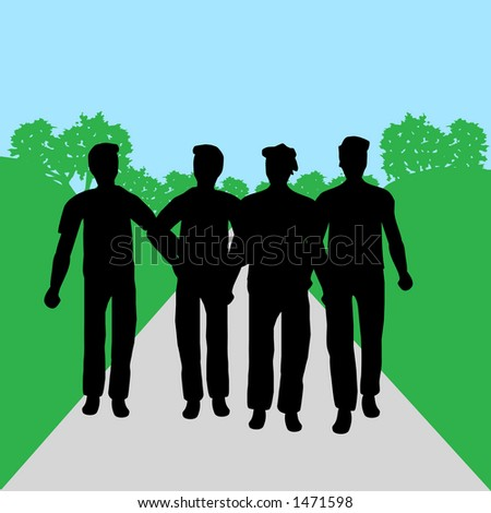 Silhouettes of people - men - stock photo