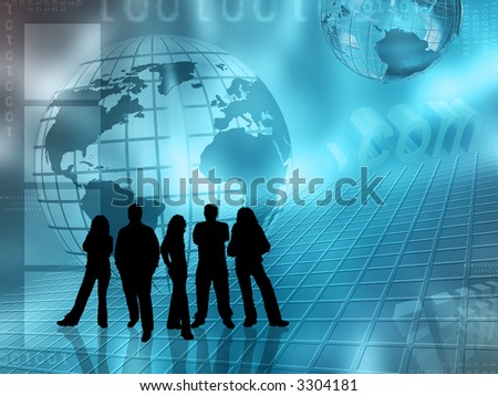 Silhouettes of people on abstract globe background