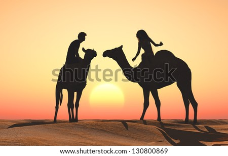 Silhouettes of people on camels. - stock photo