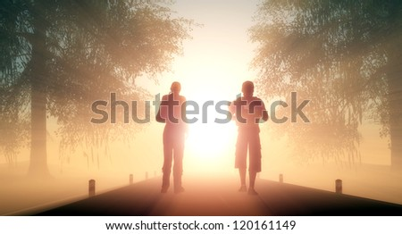Silhouettes of people on the road. - stock photo