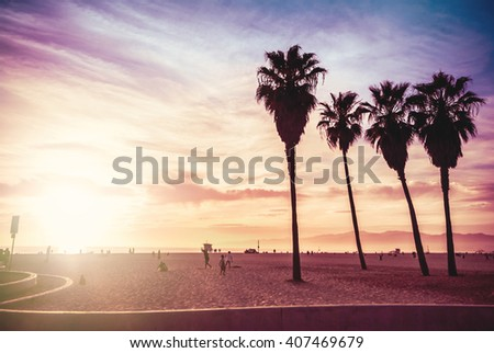 Silhouettes of people playing in Venice Beach at sunset. Sun flare added.  Summer vacation, travel, tourism and fashion background concept