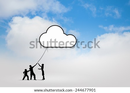 Silhouettes of people pulling Earth plane with rope - stock photo