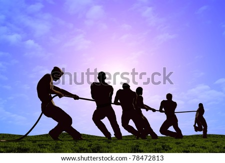 Silhouettes of people pulling the rope. - stock photo