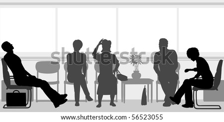 Silhouettes of people sitting in a waiting room - stock photo