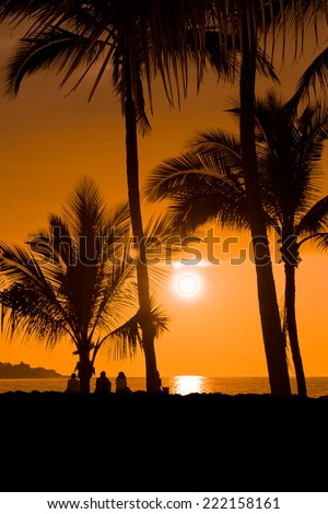Silhouettes of people watching a colorful sunset on a beach in Big Island, Hawaii, USA - stock photo