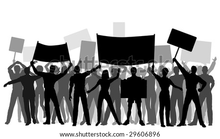 Silhouettes of protesters and banners. Editable vector file (.eps) also available. - stock photo