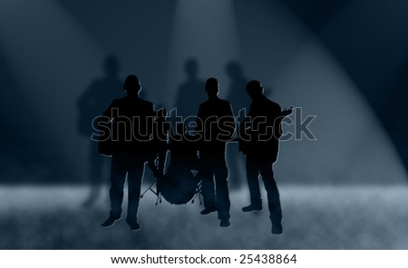 Silhouettes of rock band