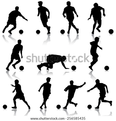 silhouettes of soccer players with the ball.  illustration.