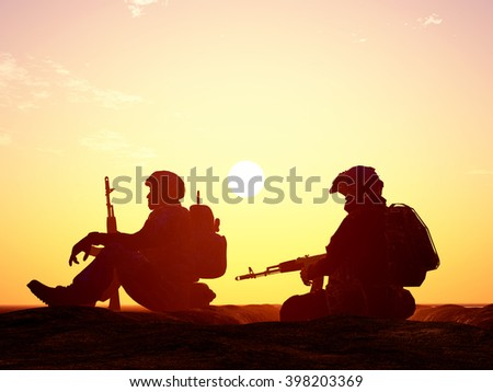 Silhouettes of soldiers against the sky.3D rendering, - stock photo