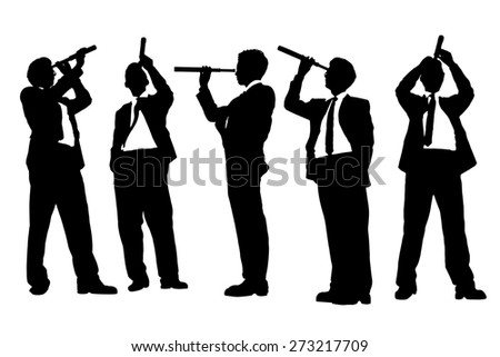 Silhouettes of successful Business man with telescope ( spyglass ) looking forward Prospects for future in full length isolated on white background - stock photo
