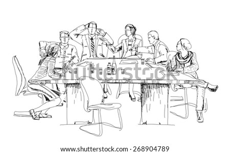 Silhouettes of successful business people working on meeting. Sketch - stock photo