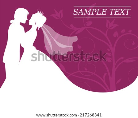 silhouettes of the bride and groom on a burgundy background with swirls - stock photo
