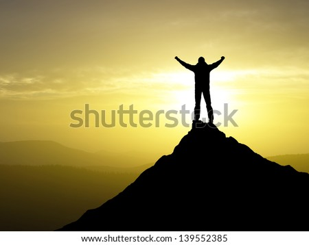 Silhouettes of the champion. Sport and active life - stock photo