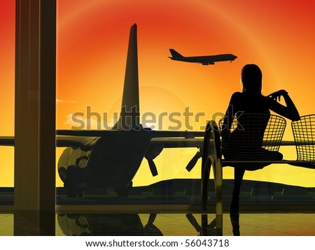 Silhouettes of the people at the airport