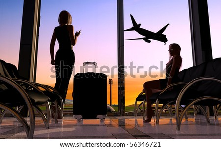 Silhouettes of the people at the airport - stock photo