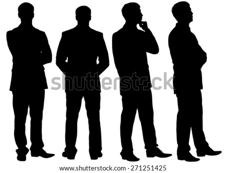 Silhouettes of thinking businessman in different postures looking at camera, different views