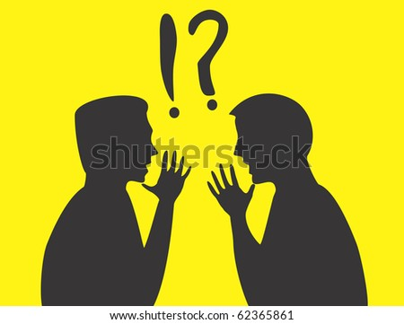 Silhouettes of two arguing men - stock photo