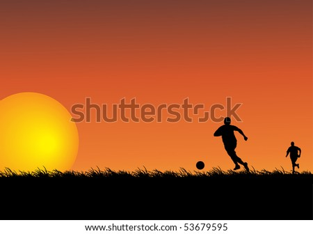Silhouettes of two people playing soccer in a field. Illustration. - stock photo