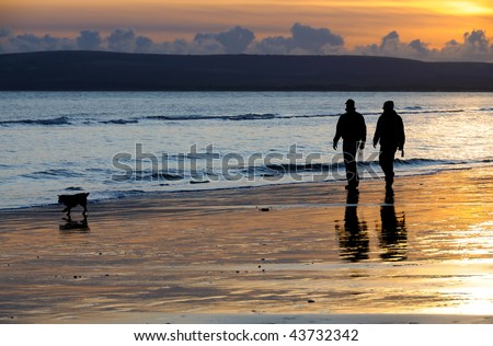 Silhouettes of two people walking with their dog on a beach at sunset. - stock photo